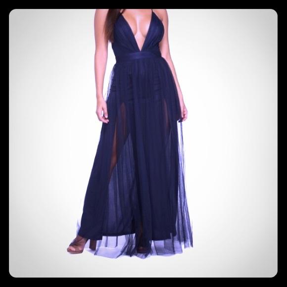 4232f549f4c3d Windsor Navy Blue Farrah Tulle Double Slit Dress. M_5bfa2c52035cf1d70591932b
